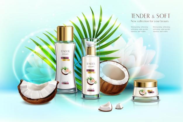 Экологически чистая косметическая продукция с кокосовой косметикой, реалистичная композиция с кремом для тела и лосьоном против старения