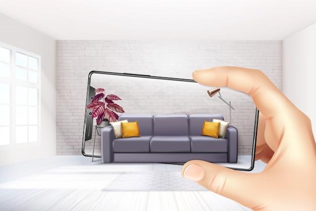 スマートフォン拡張仮想現実インテリアアプリケーションアプリは、タッチスクリーンの現実的な構成のためにソファエクスペリエンスを選択します