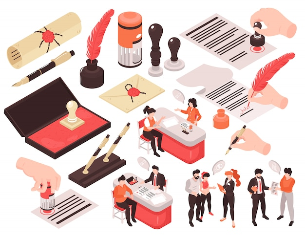 Изометрические нотариальные услуги набор изолированных изображений с человеческими персонажами мысли пузыри и руки с ручками