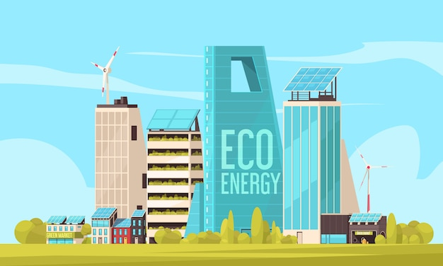 Умный город, дружелюбный жилой комплекс с эффективным использованием земли и экологически чистой экологически чистой энергии