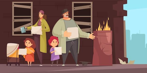Семья бедняков с двумя маленькими детьми, просящими денег на еду на горизонтальной улице