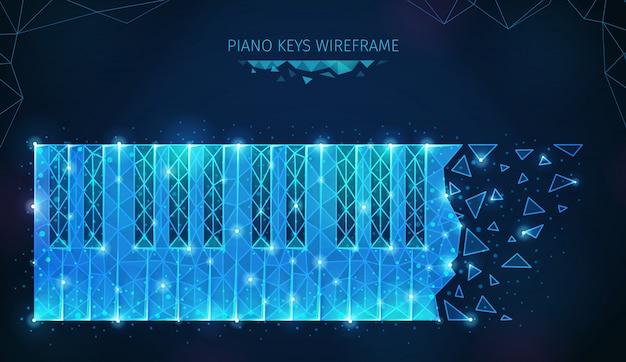 Музыкальная медиа полигональная каркасная композиция с клавишами и осколками с сияющими частицами, геометрическими фигурами и текстом