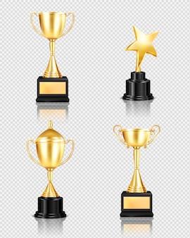 異なる形状のゴールデンカップの孤立した画像と透明な背景に現実的なトロフィー賞セット