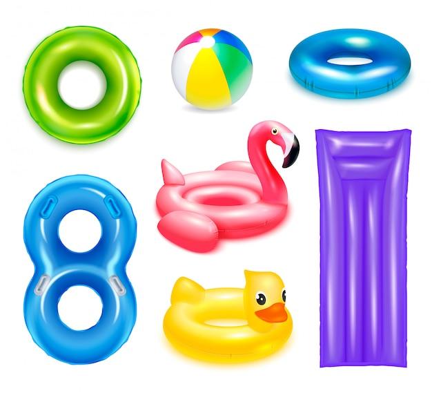 Надувные резиновые игрушки плавательные кольца набор изолированных реалистичных изображений круговой и детской воды
