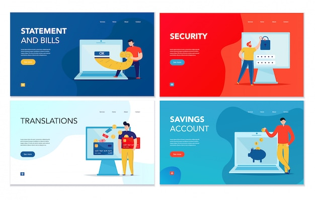 Набор из четырех горизонтальных баннеров с различными операциями онлайн-банкинга на фоне красочных изолированных