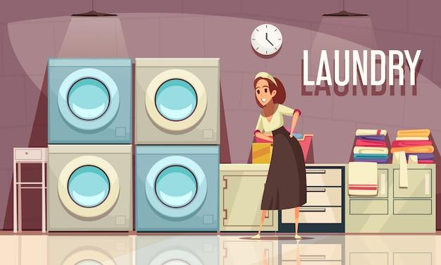 時計の洗濯機と編集可能なテキストでユーティリティルームのインテリアを望むホテルのランドリー構成