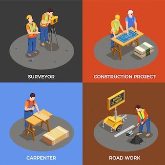 Изометрические коллекция строителей