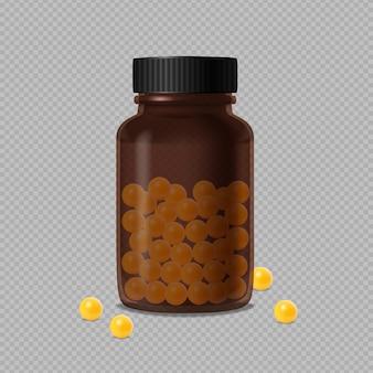 Закрытая медицинская коричневая стеклянная бутылка и желтые витамины