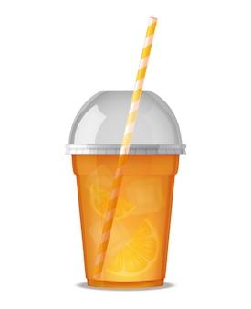 Прозрачный пластиковый стакан для питья сока с соломой
