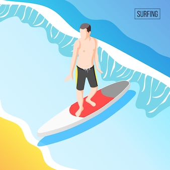 男は海でサーフィン