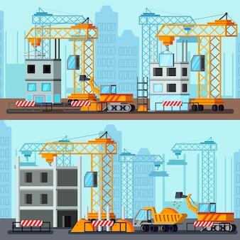 超高層ビル建設イラスト