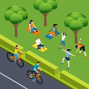 Изометрические фитнес спортсмены в парке
