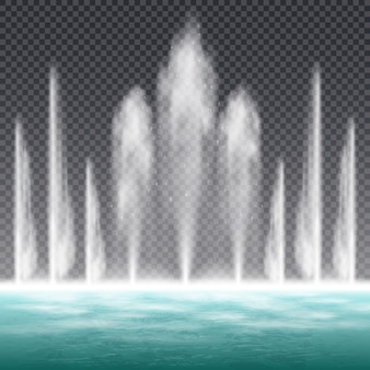 ダイナミックな水でジャンプする噴水を踊る