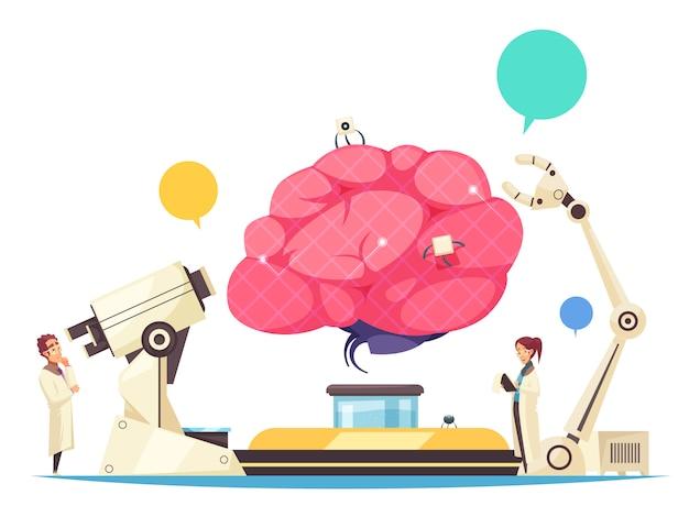 人間の脳に埋め込まれたマイクロチップと外科手術用のロボットアームを備えたナノテクノロジーの概念