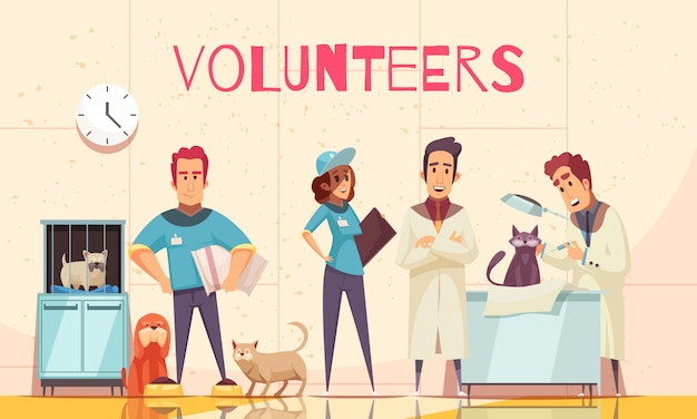 獣医診療所の獣医とフラットでボランティアがボランティアによって提供された病気のペットを検査する