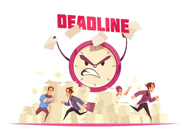 オフィスに走っている紙のシートの人々と目覚まし時計の怒っている漫画の顔の締め切り