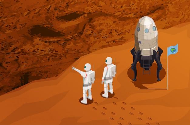 Изометрическая афиша исследования марса с двумя астронавтами у космического корабля, прибывшего на красную планету