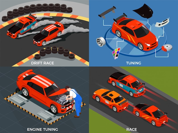 Концепция тюнинга автомобиля, набор модификаций двигателя и кузова для дрифт-гонки изометрии