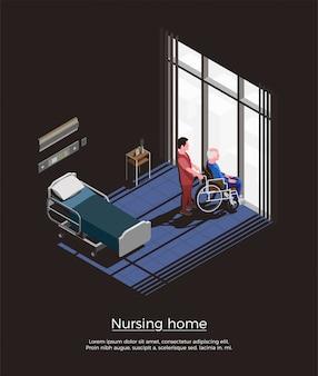 Дом престарелых изометрии с пожилым человеком, сидя на инвалидной коляске и его смотритель в интерьере комнаты