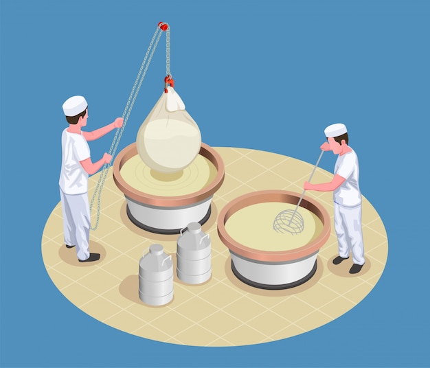 Изометрические иллюстрации для изготовления сыра с работниками производства, разминающими и проверяющими процесс брожения
