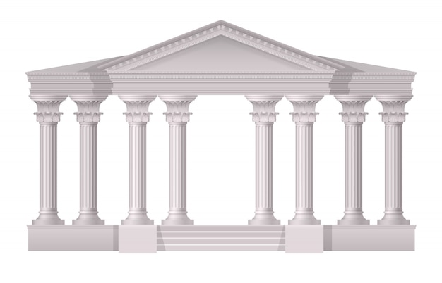 Реалистичные антикварные белые колонны реалистичная композиция на белом