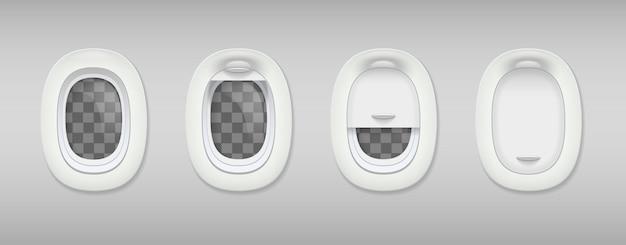 Цветной иллюминатор реалистичной композиции четырех иллюминаторов в самолете закрыт и открыт
