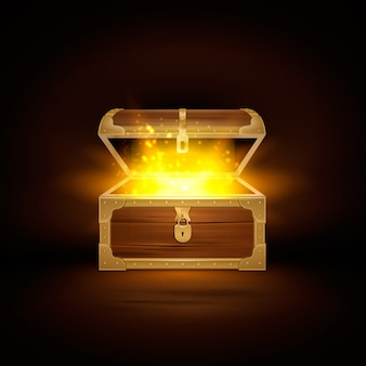 Блеск в старом деревянном сундуке реалистичная композиция сундука с сокровищами с открытой крышкой и золотыми частицами