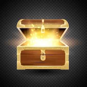 ヴィンテージの貴重品箱と輝く粒子と透明な背景に古い木製のたんす現実的な構成で輝きます
