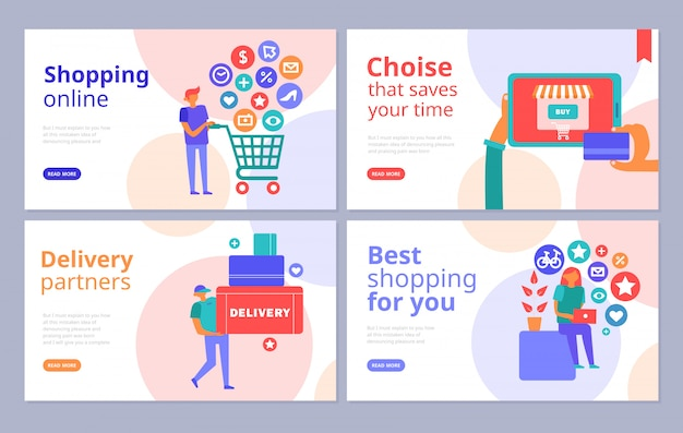 Интернет-магазины концепции плоских баннеров с интернет-браузером оплаты кредитной картой партнеров по доставке