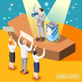 選挙運動中の政治家候補者の支持者と演説者の等角投影図とプラカードを持つ市民