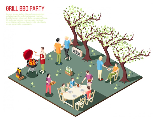 Гриль барбекю вечеринка изометрическая композиция с большими членами семьи, отдыхающими на открытом воздухе с редактируемым текстовым описанием