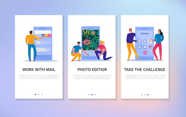 Взаимодействие по телефону вертикальные баннеры с текстовым полем и люди, использующие почту и фото редактор иконок, изолированные