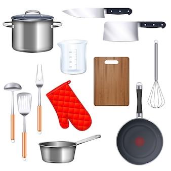 鍋フライパンと現実的な分離ナイフでキッチン用品アイコンを設定します。