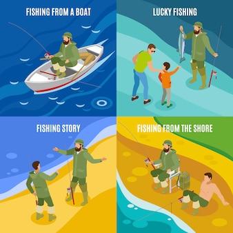 Рыбаки во время причастия и с изометрической концепцией улова с лодки и на берегу изолированы
