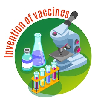 Вакцинация изометрическая иллюстрация с изображениями микроскопа и стеклянных трубок, наполненных разноцветными жидкостями с текстом