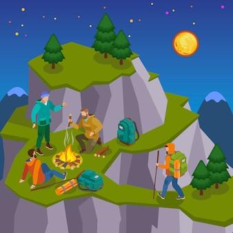 Походная изометрическая композиция с ночными дикими пейзажами, изображениями гор с пешеходными и туристическими персонажами.