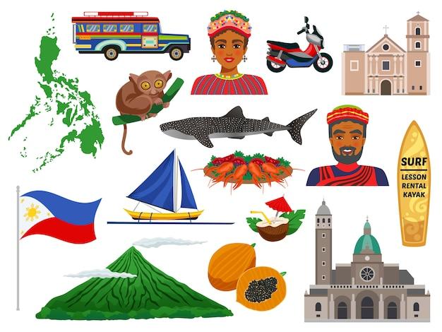フィリピン動物のランドマークの伝統的な食べ物と分離された民族衣装の旅行アイコンのセット