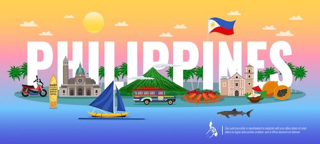 フィリピンの伝統的な食べ物とタイポグラフィの組成さまざまなランドマークとグラデーションの背景の水平方向の動物