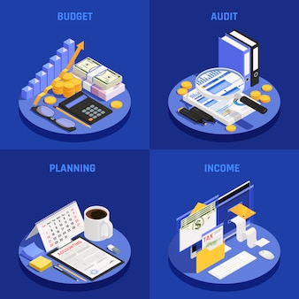 Изометрическая концепция бухгалтерского учета с планированием бюджета и аудита и доходов синий