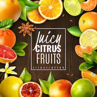 様々なジューシーな柑橘系の果物と木製の調味料