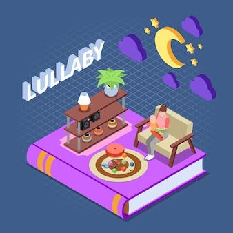 Концепция чтения с колыбельной чтением для детей символы изометрической изоляции