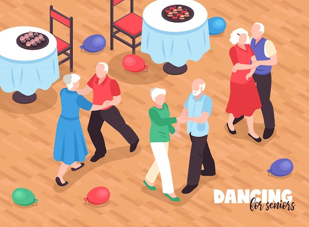 Активные пожилые люди танцуют иллюстрации с символами активного образа жизни изометрии
