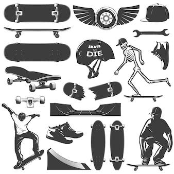 スケートボードのアイコンセット機器と分離されたスケーター少年の保護と黒のベクトル図