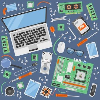 コンピューター機器の上面図のベクトル図の修理のためのツールで設定されたコンピューターサービスアイコン