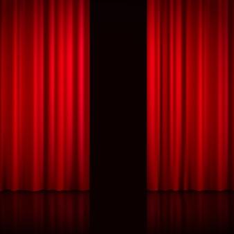 Реалистичные открытые красные шторы с тенями и черной дырой вместо сцены за шторами векторная иллюстрация