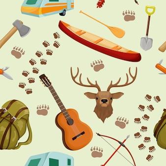 キャンプの要素を持つキャンプのシームレスなパターンをキャンプし、観光や森の動物をハイキングベクトルイラスト