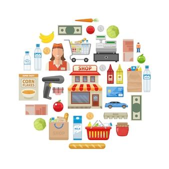 スーパーマーケットの店の建物と機器の製品お金のトロリーとバスケットの従業員のベクトル図を笑顔で構成をラウンドします。