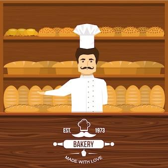 口ひげを生やした男性とパンの木製の棚とカウンターデザインの背後にあるパン屋