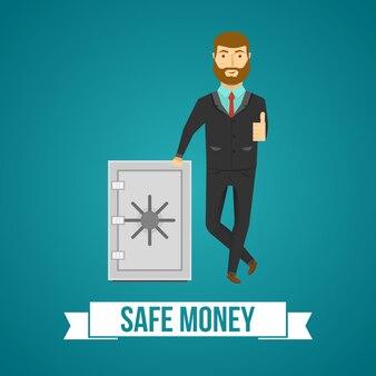 Бизнесмен и безопасный дизайн позитивного человека с одобрительным жестом