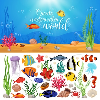 Морская жизнь, животные, растения, композиция с подводной морской жизнью, морской набор и название создают подводный мир.